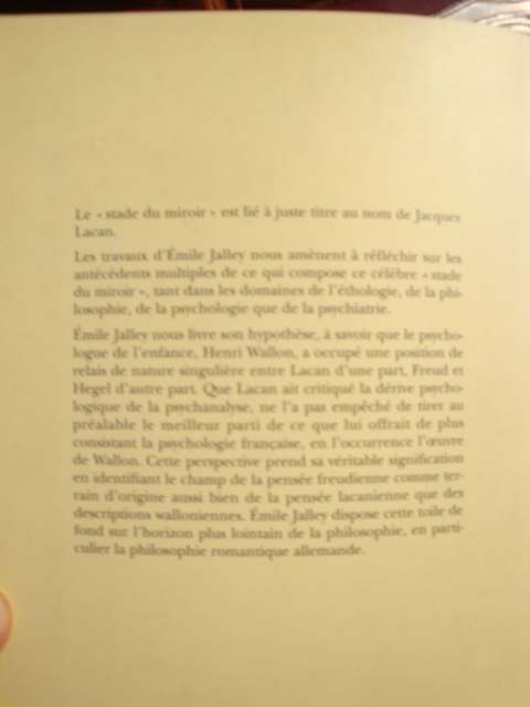 Emile jalley freud wallon lacan l 39 enfant au miroir for Miroir psychanalyse
